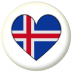 Iceland Country Flag Heart 25mm Button Badge